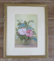 Bouquet of Flowers Signed Framed Watercolor painting flower Dawn Thompson