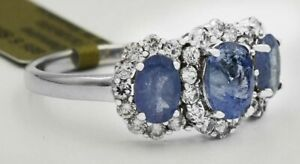GENUINE 2.30 Cts TANZANITE & WHITE SAPPHIRE RING .925 Silver * NEW WITH TAG *