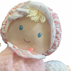"""Eden 10.5"""" Soft Pink Thermal Waffle Weave Plush Doll Lovey"""