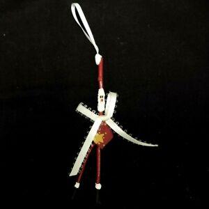 HANDMADE SKINNY STICK SANTA CLAUS CRISTMAS TREE ORNAMENT RED BLACK WHITE GOLD