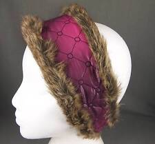 Pink Purple faux fur lined quilted ear warmer muffs head wrap hat cover ski