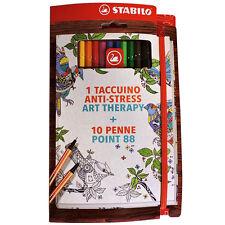ART THERAPY 1 TACCUINO ANTI-STRESS 10 pennarelli sfumati STABILO POINT 88