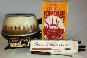 Vintage OSTER Electric Fondue Pot Set w/ Four Forks & Manual Almond Model 683E