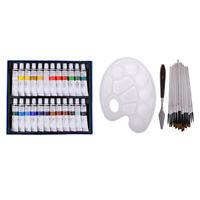 24 Farben Acrylfarbe Set & 12 Farben Pinsel & Farbschaber Werkzeug & Palette