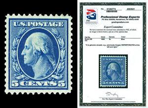 Scott 335 1908 5c Blue Washington Mint XF OG LH Reperforated with PSE CERT