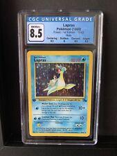 NM/MINT + 1st Edition Lapras 10/62 Fossil HOLO RARE Pokemon Card CGC 8.5 Graded
