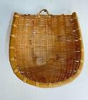 Vtg Wicker Rattan Wall Pocket Planter Hanging Basket ~Wall Decor