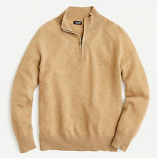 NWT J.Crew Crewcuts Kids' 100% Boys' cashmere half-zip sweater HTHR CAMEL Sz 10