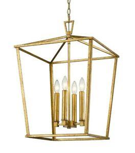 "Gold Lantern 17"" D x 25"" - 4 Light Transitional island pendant Open Chandelier"