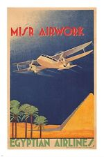 misr airwork EGYPTIAN AIRLINES vintage TRAVEL poster PYRAMID palm tree 24X36