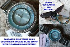 NWT/NEW Juicy Couture 1901330 Cali Blue Dial Stainless Watch by Movado + Bonus