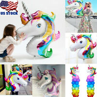 USA 1-50PCS Unicorn Large Rainbow Foil Helium Balloon Kids Birthday Party Decor