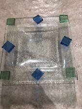 Handmade Glass Square Dish Soap Tray Ashtray Handicraft Artisan Raw Cut Design
