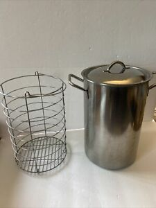 Stainless Asparagus Cooker Steamer Pot 3 Qt. with cover and inside rack