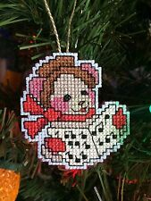 Handmade Cross Stitch Christmas Ornament-Mouse Singing Carols-Music-Completed