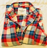 Abercrombie & Fitch Men's Plaid Button Down Muscle Shirt Size S Red Blue White