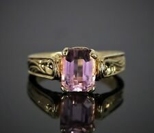 $1050 YA 10K Solid Yellow Gold Pink Sapphire Annisersary Cocktail Ring Band 6.75