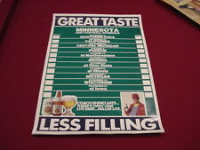 Vintage Minnesota Gophers Football 1987 Miller Lite Beer Poster Schedule, Nice!