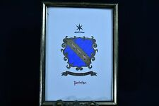 "Framed Antique Family Crest Coat of Arms PARTRIDGE  9.75"" x 7.25"""