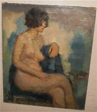 Young Woman Nude in a Blue Chair Oil Painting-1950s-Armondo Sozio-LISTED N.J.