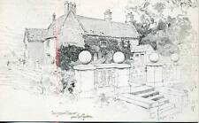 Sulgrave Manor Garden George Washington home J Finnemore sketch postcard