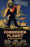 Forbidden planet Leslie Nielsen cult sci fi movie poster print