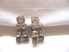 Vintage Sparkling Clear Dangle Rhinestone Earrings Clip Back