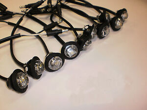10x Maxxima 3/4 Mini Red Clear LED Marker Clearance Light Ghost Fire Eye Trailer