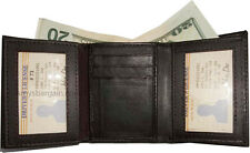 Man's wallet. Tri-fold Leather 9 card spaces 2 ID windows 2 billfolds New wallet