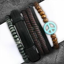 4 Bracelet Set Fashion Wood Stretch Beads Wrap Rope Peace Sign Adjustable Boho