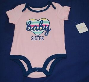 Infant Girl's Bodysuit One Piece Size 3-6 Months NWT BABY SISTER Pink Colorful