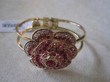 NWT Betsey Johnson Gold Tone Hinged Bracelet- Flower/Rose/ Pink & Clear Crystals
