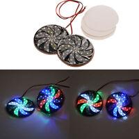 2x Car LED Light Strobe Multi Color Signal Round Lamp Fog DIY Flashing Warning