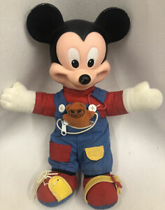 """Disney Mickey Mouse Plush Doll Collectors Learn to Dress Mattel 14"""" Vintage 1989"""
