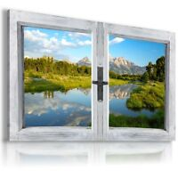 RIVER FOREST 3D Window View Canvas Wall Art Picture   W91 MATAGA