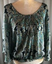 NY Collection L Blue Green Paisley Flowing Bat Wing Sleeve Top