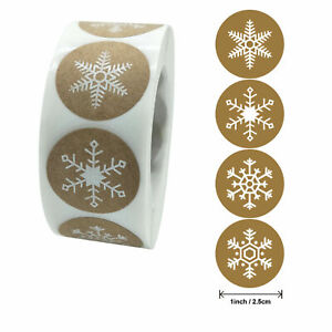 MERRY CHRISTMAS Stickers Labels Decorating Present Seals Xmas SNOWFLAKES Present