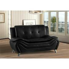 Kingway Furniture Gilan Faux Leather Living Room Loveseat - Black