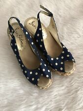 Wedges- Sam Edelman blue white polka dot straw high espadrilles womens size 8