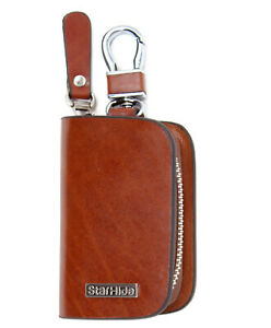 StarHide Leather Hanging Keychain Holder Zipper Pouch Wallet Purse Key Case