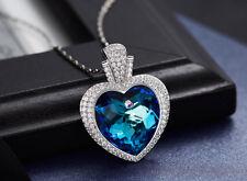 Halskette Herz Anhänger mit SWAROVSKI® Kristallen Collier Silber 18K Weißgold pl