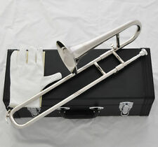 Top Silver Nickel Slide Trumpet Mini Trombone Bb Keys Horn With Leather Case New