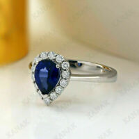 Wedding Engagement Ring 2.00 Ct Pear Cut Sapphire & Diamond 14k White Gold Over