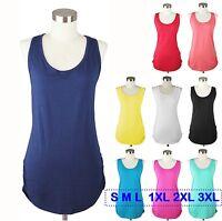 Women Tank Top Racerback Cami Long Shirt Side Shirring Cotton PLUS S M L 1X 2X