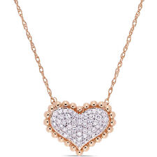 Amour 10KR Diamond Cluster Halo Heart Necklace