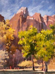 Plein Air Desert Red Rock Zion Landscape 10x8 inches Original Oil Painting a Day