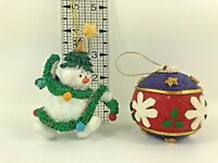 Set of Two Holiday Christmas Ornaments Resin Snowman Clay Ball