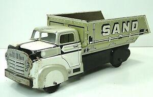 Vintage Original Marx Sand & Gravel  Silver & White Tin Litho Dump Truck
