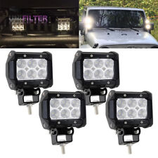 4Pcs 4 inch Cube Pods Front Bumper LED Work Light Bar Flood Dual Row Offroad ATV