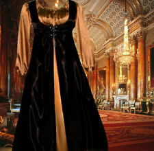 Renaissance Costume Medieval Court Gown SCA Garb GoldBlkSatinFrtLcg2pc LgXL